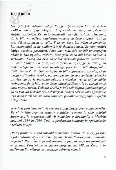 Uvodnik Knjiga tržanov Mozirja 1740