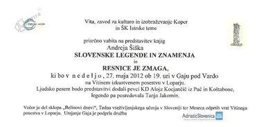 Slovenske legende in znamenja, vabilo