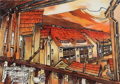 Ovnikova upodobitev rudarske kolonije na Tereziji