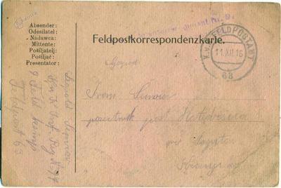 Feldpostkorrespondenzkarte 11. 12. 1916