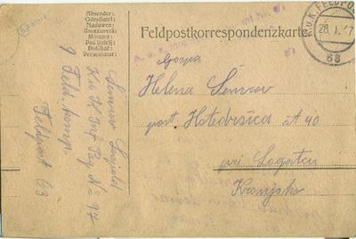 Feldpostkorrespondenzkarte 28. 1. 1917