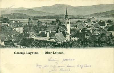 Razglednica Gornjega Logatca v češčini
