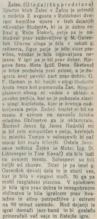 Kritika Kovačevega študenta v Novi dobi, 7.8. 1931