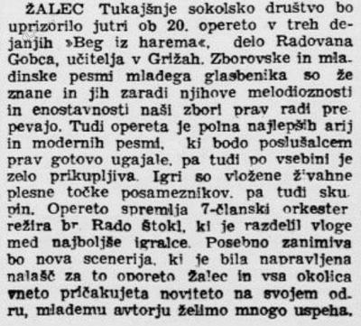 Napoved operete Beg iz harema v Jutru, 17. 12. 1932