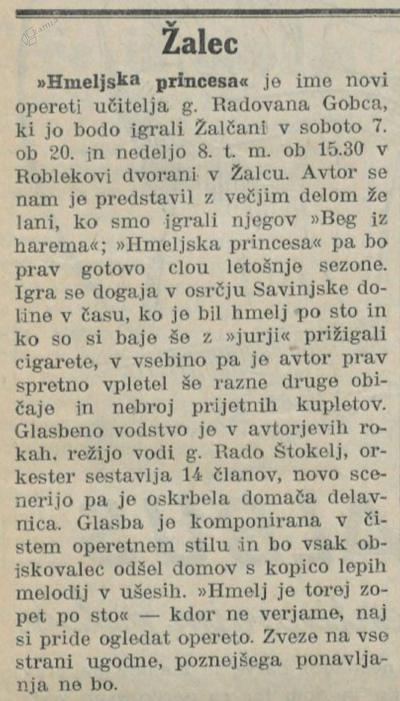 Napoved operete Hmeljska princesa v Novi dobi, 2. 10. 1933