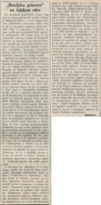 Kritika operete Hmeljska princesa v Novi dobi, 13.11.1933