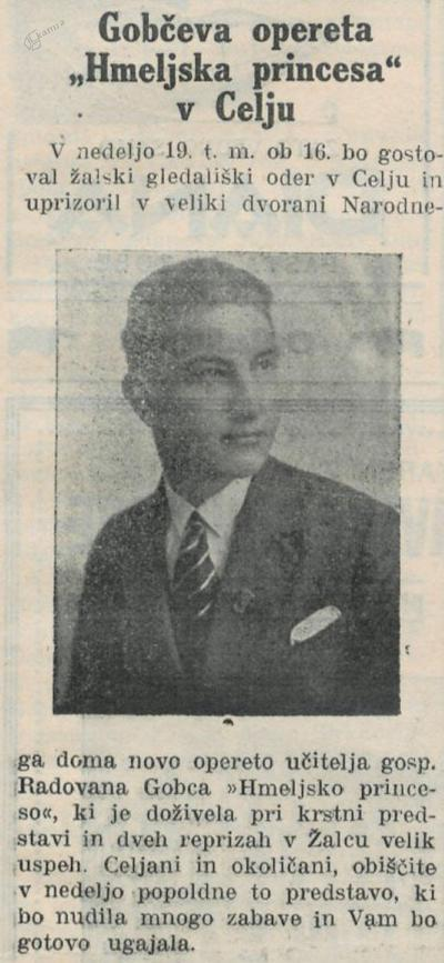 Hmeljska princesa v Celju, Nova doba, 17.11.1933