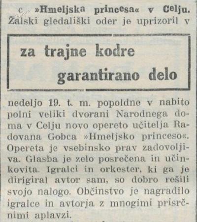 Kritika iz gostovanja, Nova doba, 20.11.1933