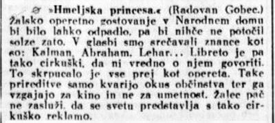 Kritika operete Hmeljska princesa v Slovencu, 21.11.1933