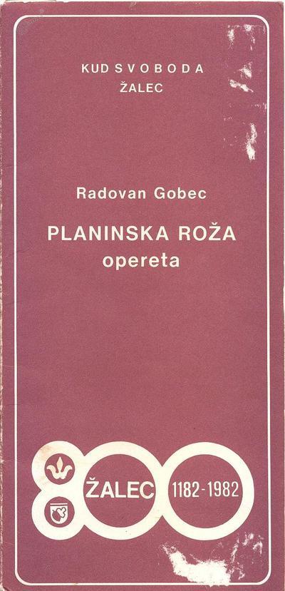 Operetni list operete Planinska roža iz leta 1982