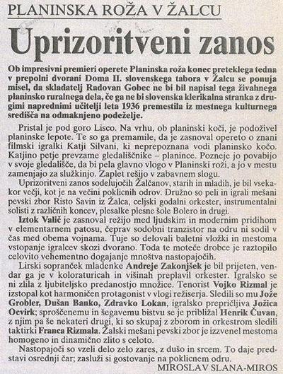 Kritika operete Planinska roža v časopisu Delo