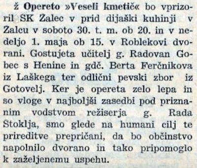 Napoved operete Veseli kmetič v Novi dobi, 29. 4.1938