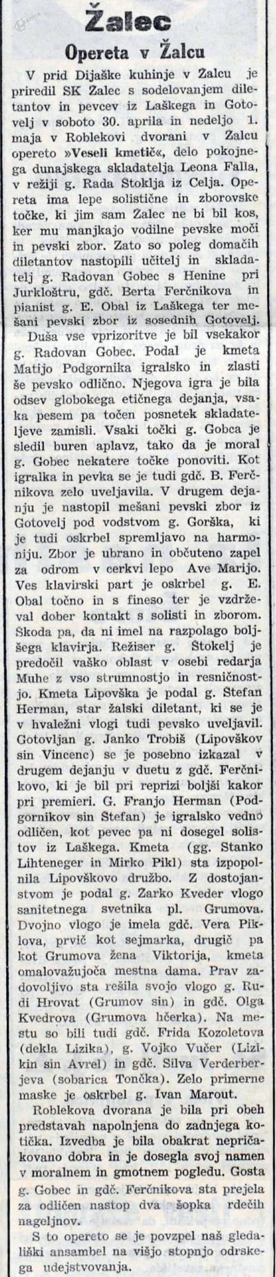 Kritika operete Veseli kmetič v Novi dobi