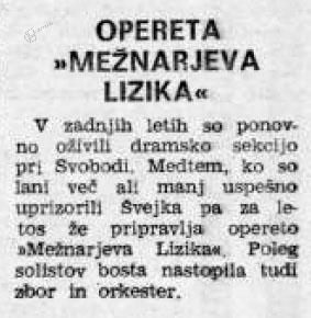 Napoved operete Mežnarjeva Lizika v Novem tedniku, 4. 7. 1971