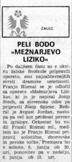 Napoved premiere operete Mežnarjeva Lizika v Novem tedniku