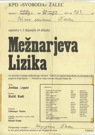 Reklamni plakat za opereto Mežnarjeva Lizika