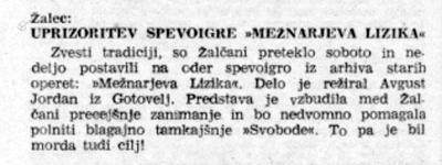 Kritika operete Mežnarjeva Lizika