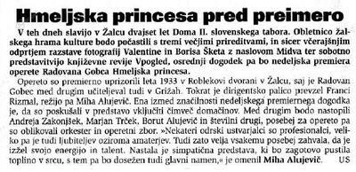 napoved operete Hmeljska princesa