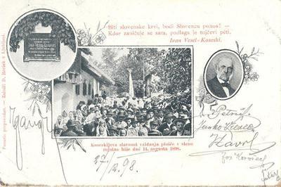 Koseskijeva slavnost vzidanja plošče v steno rojstne hiše