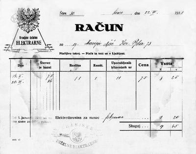Račun Kranjske deželne elektrarne 1918