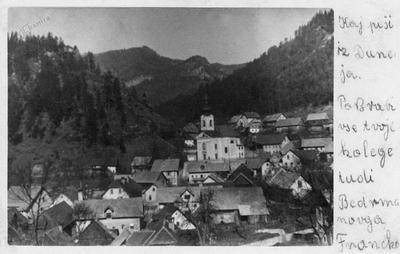 Razglednica Koroške Bele (poslana 1943)