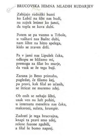 Brucovska himna mladih rudarjev - pesem