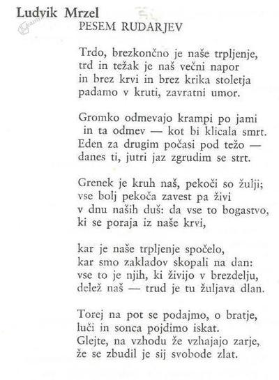 Ludvik Mrzel: Pesem rudarjev
