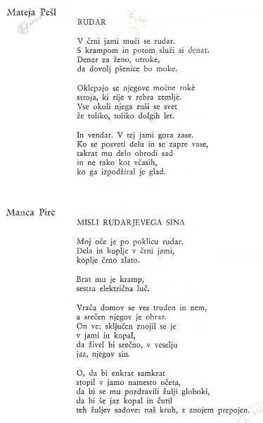 Mateja Pešl: Rudar in Manca Pirc: Misli rudarjevega sina - pesmi