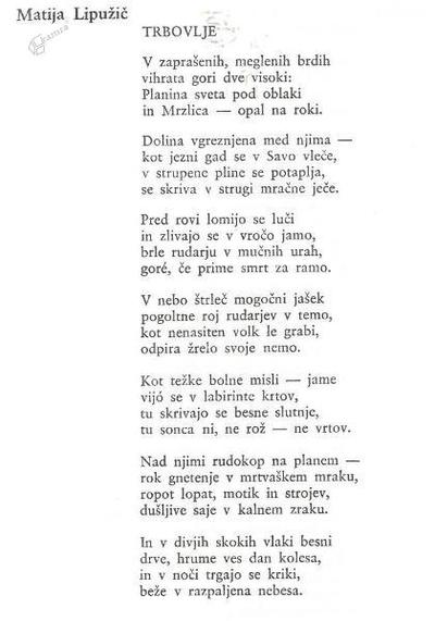 Matija Lipužič: Trbovlje - pesem