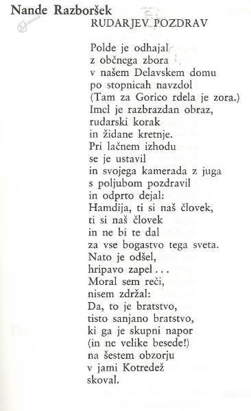 Nande Razboršek: Rudarjev pozdrav - pesem