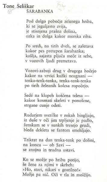 Tone Seliškar: Šarabanka - pesem