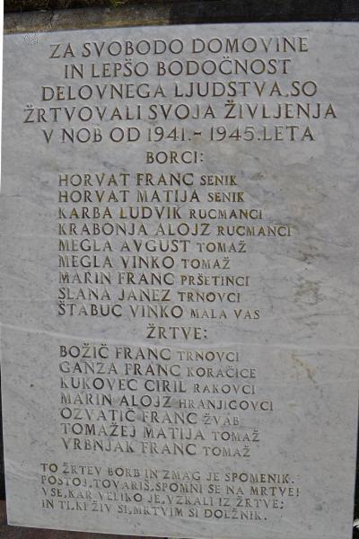 Spominsko obeležje pri Sv. Tomažu - 1. plošča žrtvam 2. sv. v.