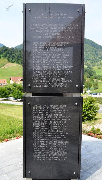 Spominsko obeležje v Žetalah - žrtve 1. sv. vojne