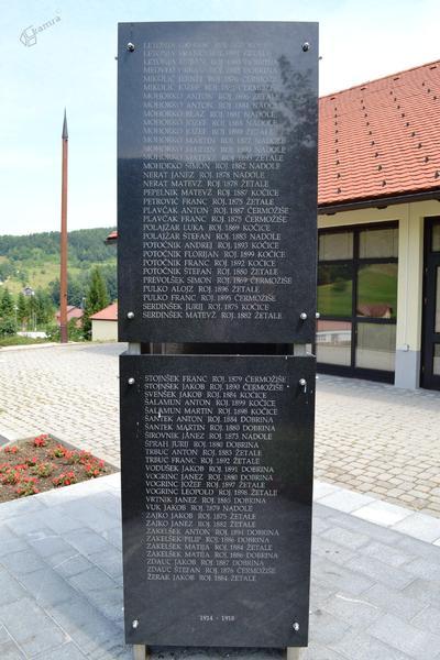 Spominsko obeležje v Žetalah - seznam žrtev 1. sv. vojne