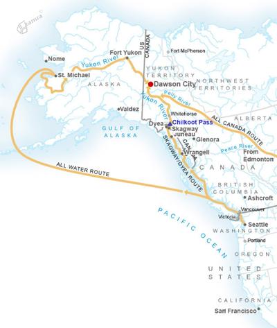 Zemljevid pokrajine Klondike