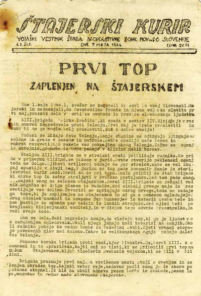 Naslovnica Štajerskega kurirja o uspešnih partizanskih akcijah