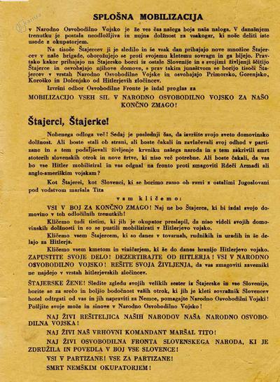 Razglas o splošni mobilizaciji v partizanske enote