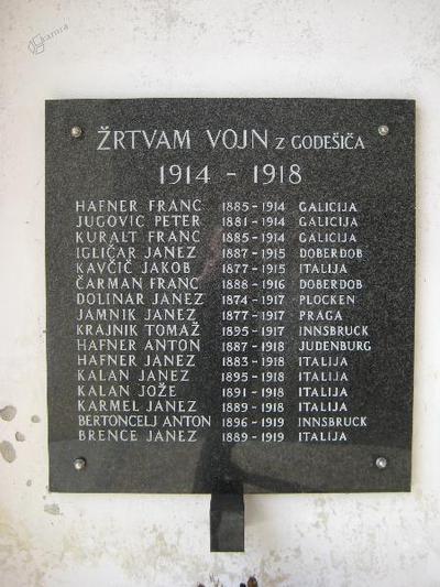 Spominska plošča v Godešiču