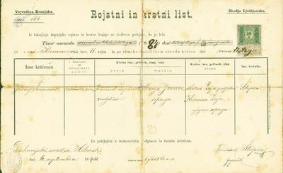 Franc Zupančič rojstni list