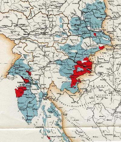 Zemljevid razširjenosti trtne uši v Avstro-Ogrski