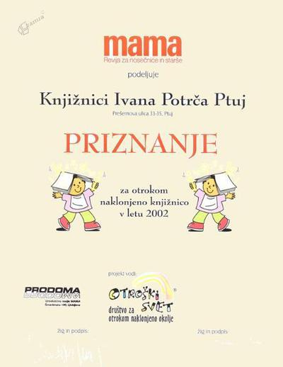 Priznanje za otrokom naklonjeno knjižnico, 2002