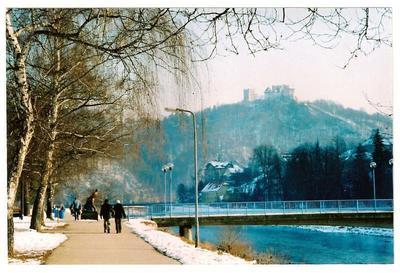 Zimska idila pri Splavarjevem mostu v Celju