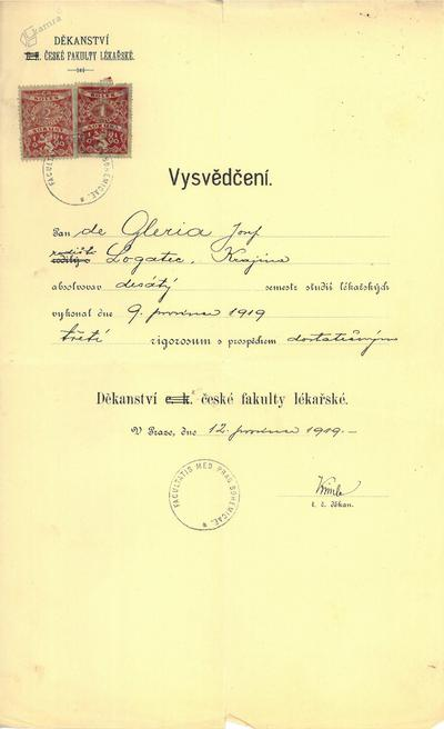 Potrdilo češke medicinske fakultete 2