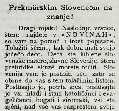 Prekmürskim Slovencom na znanje!