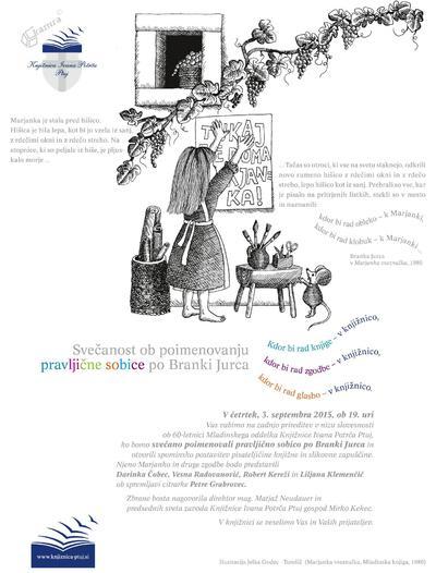 Poimenovanje pravljične sobice po Branki Jurca - vabilo