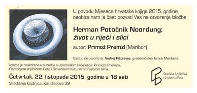 Vabilo na razstavo o Hermanu Potočniku Noordungu v Pulju