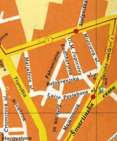 Območje Savskega naselja z ulicami leta 1975
