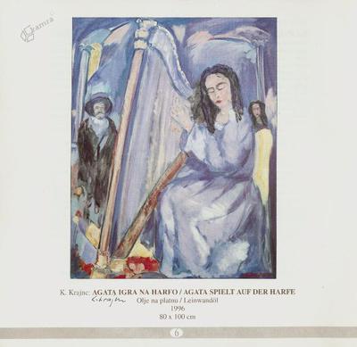 Agata igra na harfo, olje na platnu - 1996, 80 x 100 cm