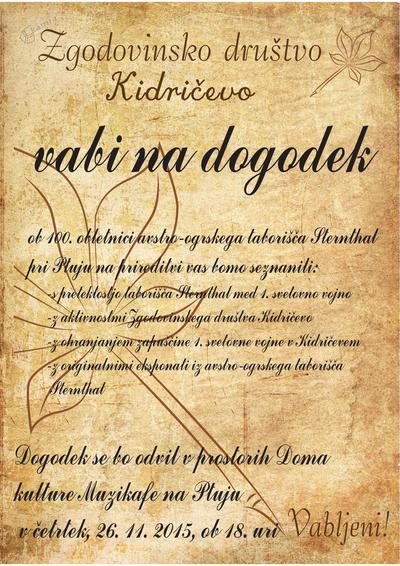 Predavanje ob 100. obletnici taborišča Sternthal - vabilo