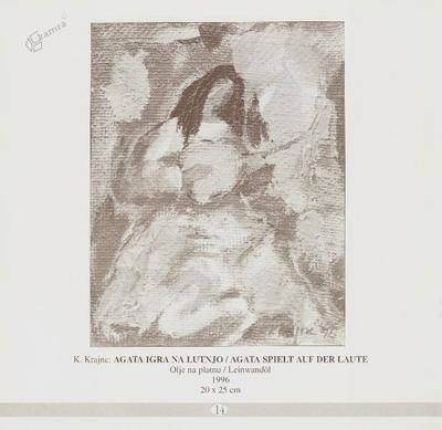 Agata igra na lutnjo, olje na platnu - 1996, 20 x 25 cm